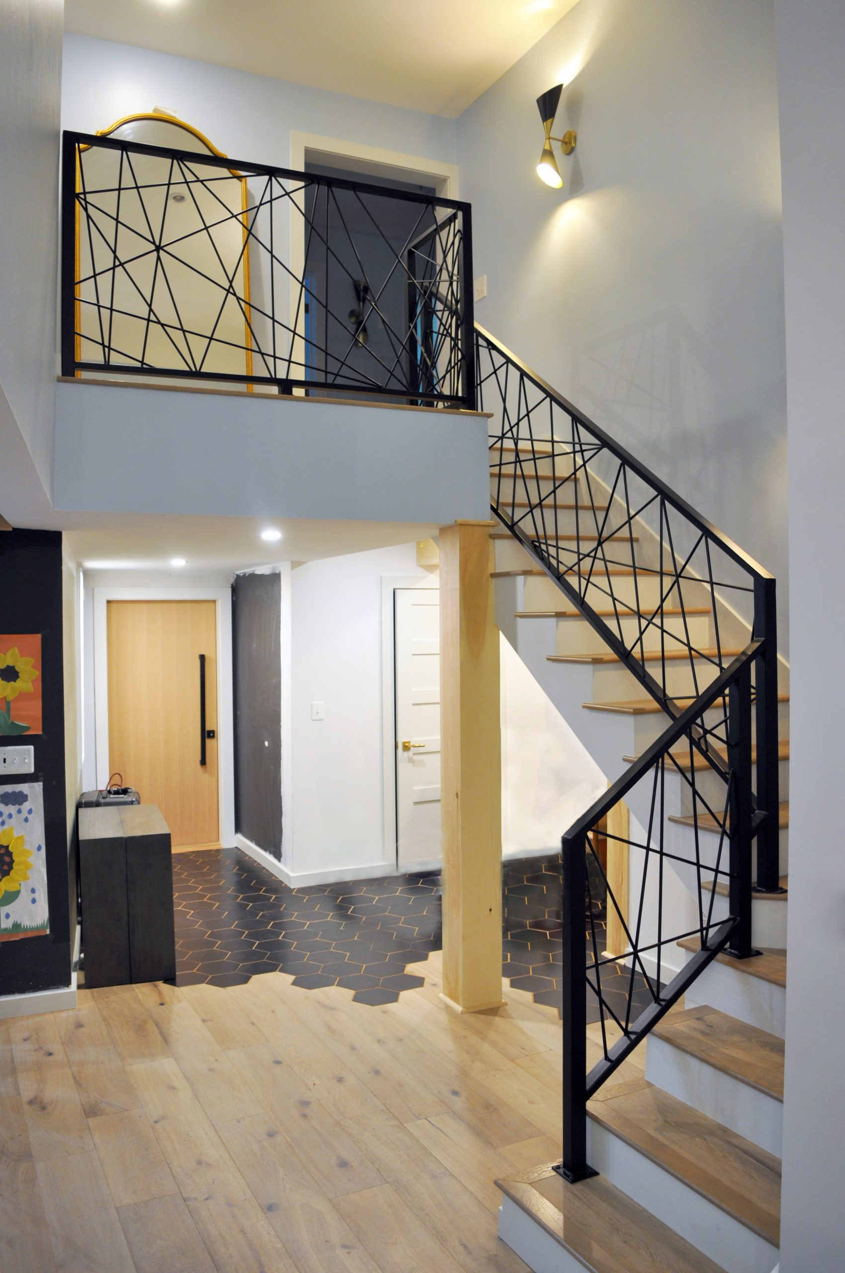 modern black stair railing lines
